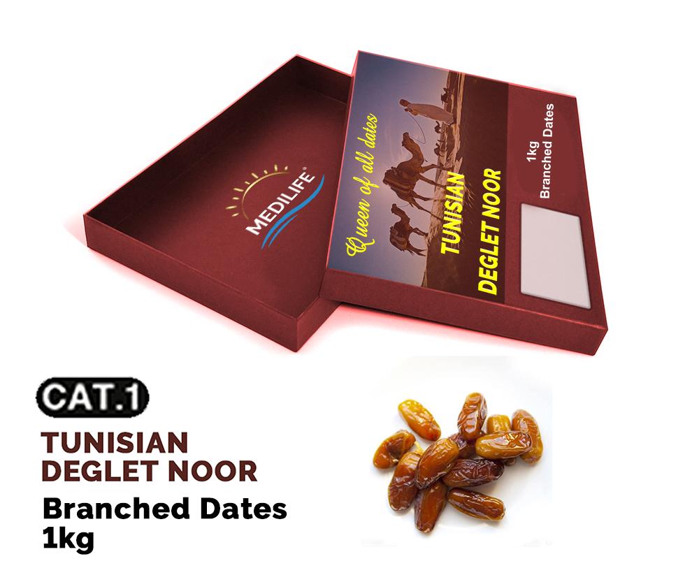 Branched Deglet Noor Dates 1kg Carton box